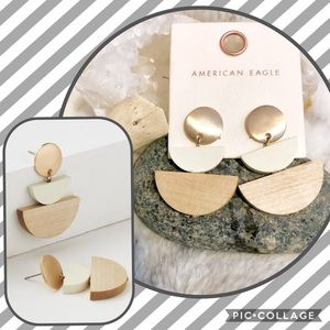 NWT American Eagle Wooden Tiered Earrings